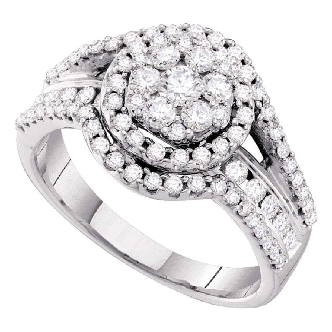 1 CTW Diamond Flower Cluster Cocktail Ring 14KT White