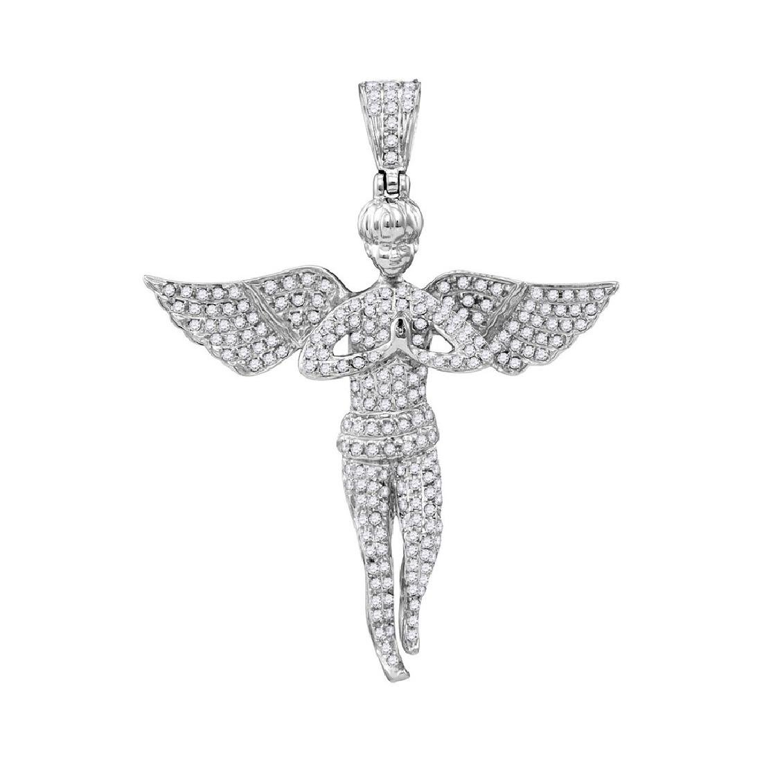 1 CTW Mens Diamond Angel Wings Charm Pendant 10KT White