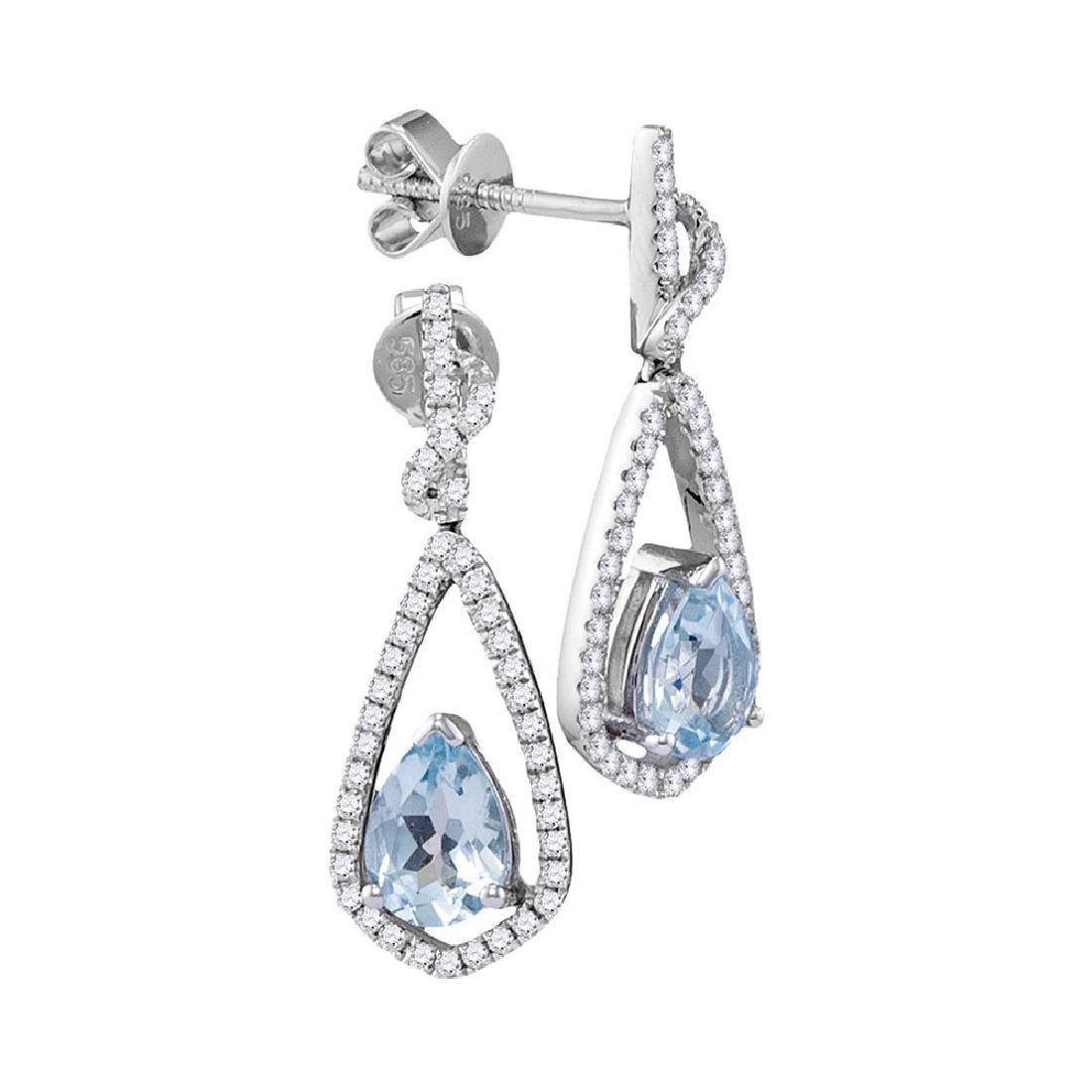1.56 CTW Pear Natural Aquamarine Diamond Dangle
