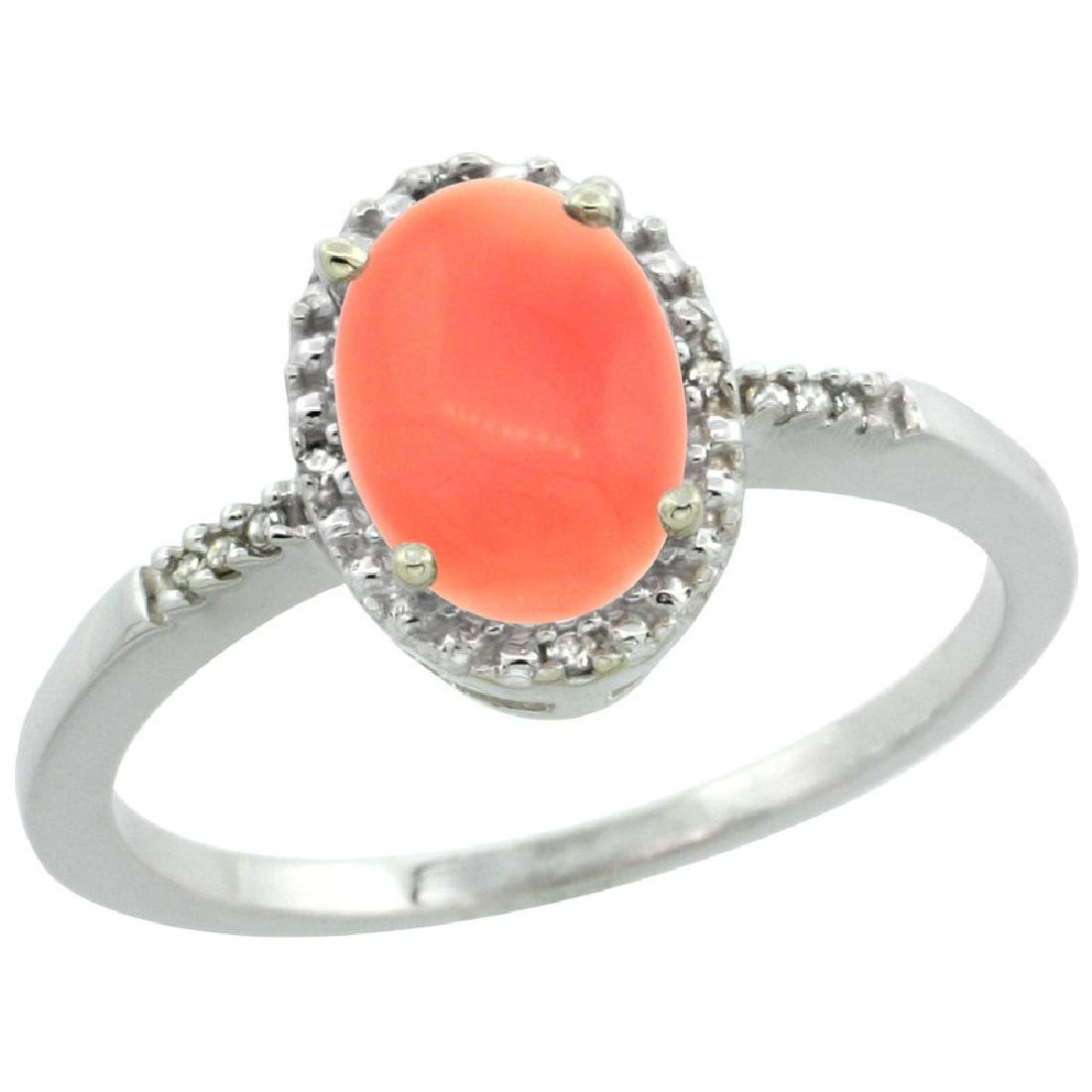 Natural 1.15 CTW Coral & Diamond Engagement Ring 14K
