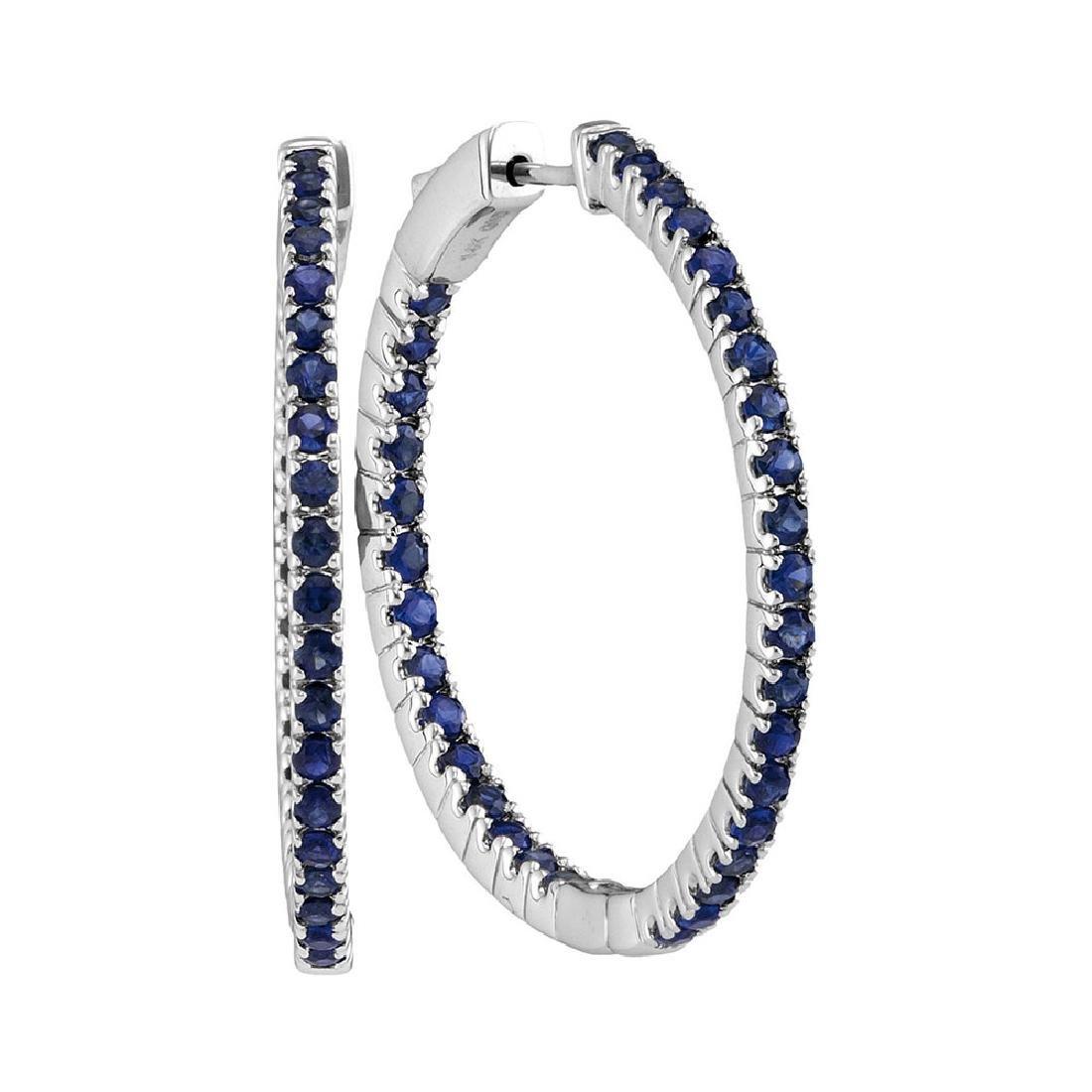 2.75 CTW Blue Sapphire Hoop Earrings 14KT White Gold -