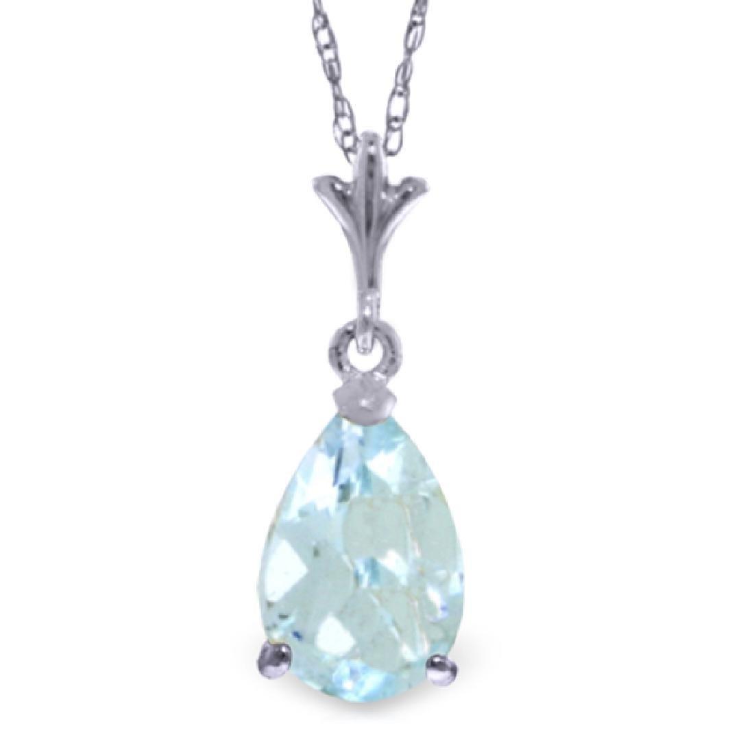 Genuine 1.50 CTW Aquamarine Necklace Jewelry 14KT White