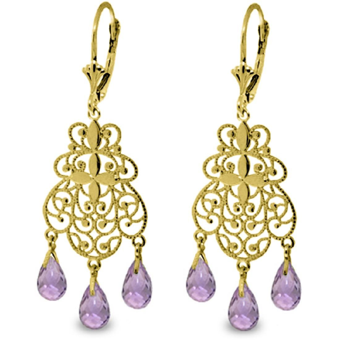 Genuine 3.75 CTW Amethyst Earrings Jewelry 14KT Yellow