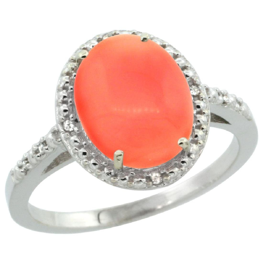 Natural 2.02 CTW Coral & Diamond Engagement Ring 14K