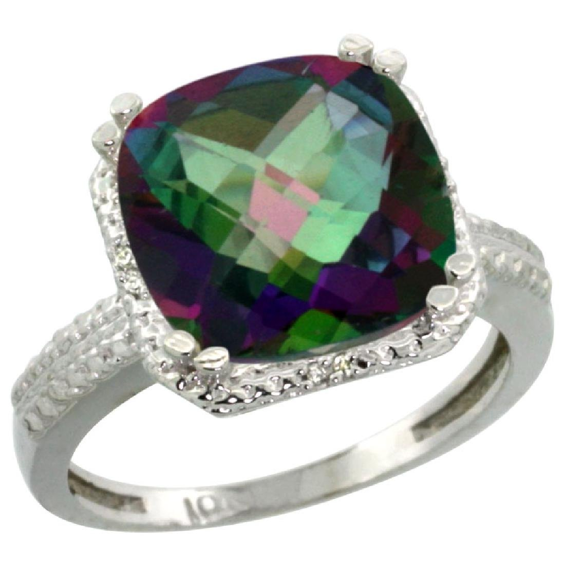 Natural 5.96 CTW Mystic-topaz & Diamond Engagement Ring