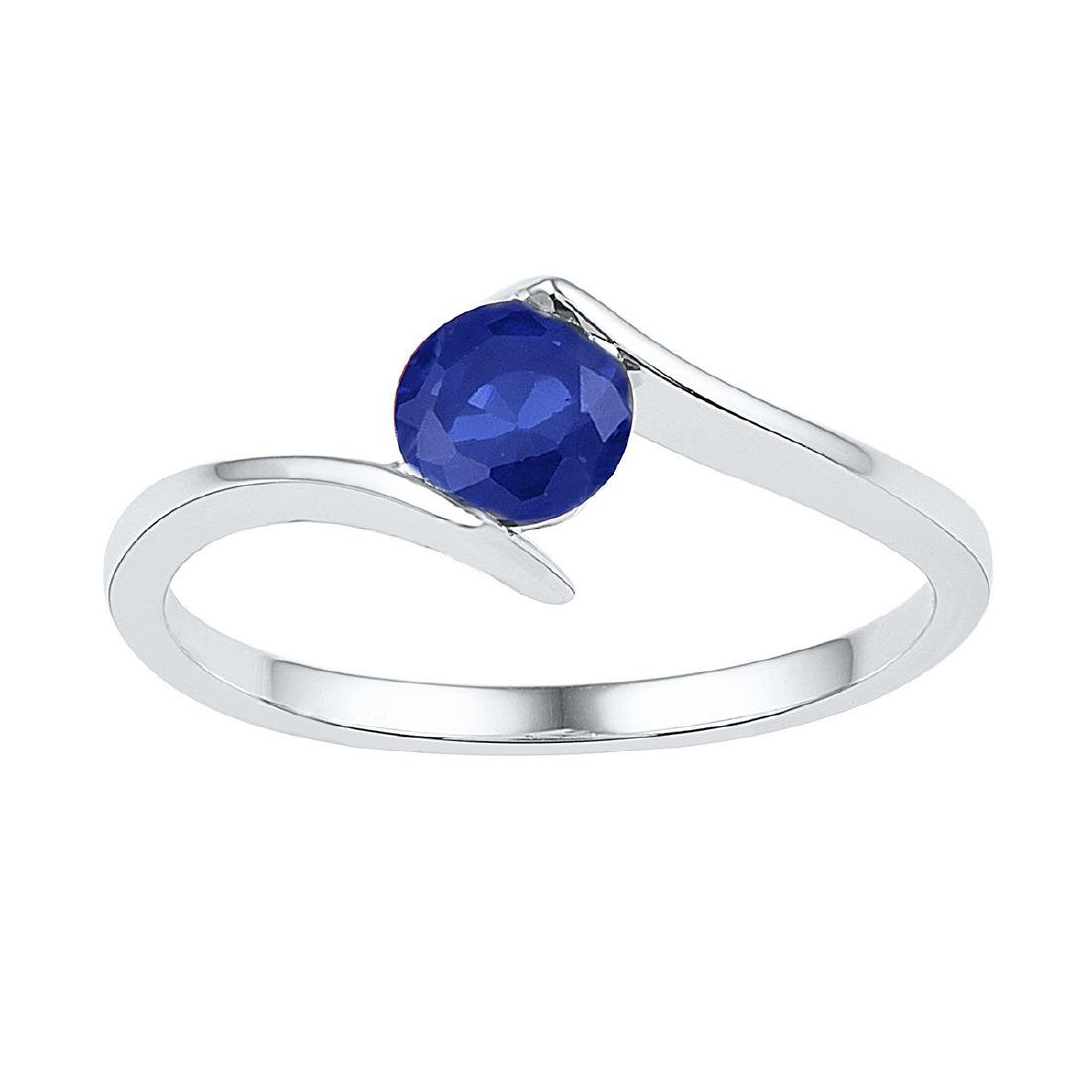 0.75 CTW Created Blue Sapphire Solitaire Ring 10KT