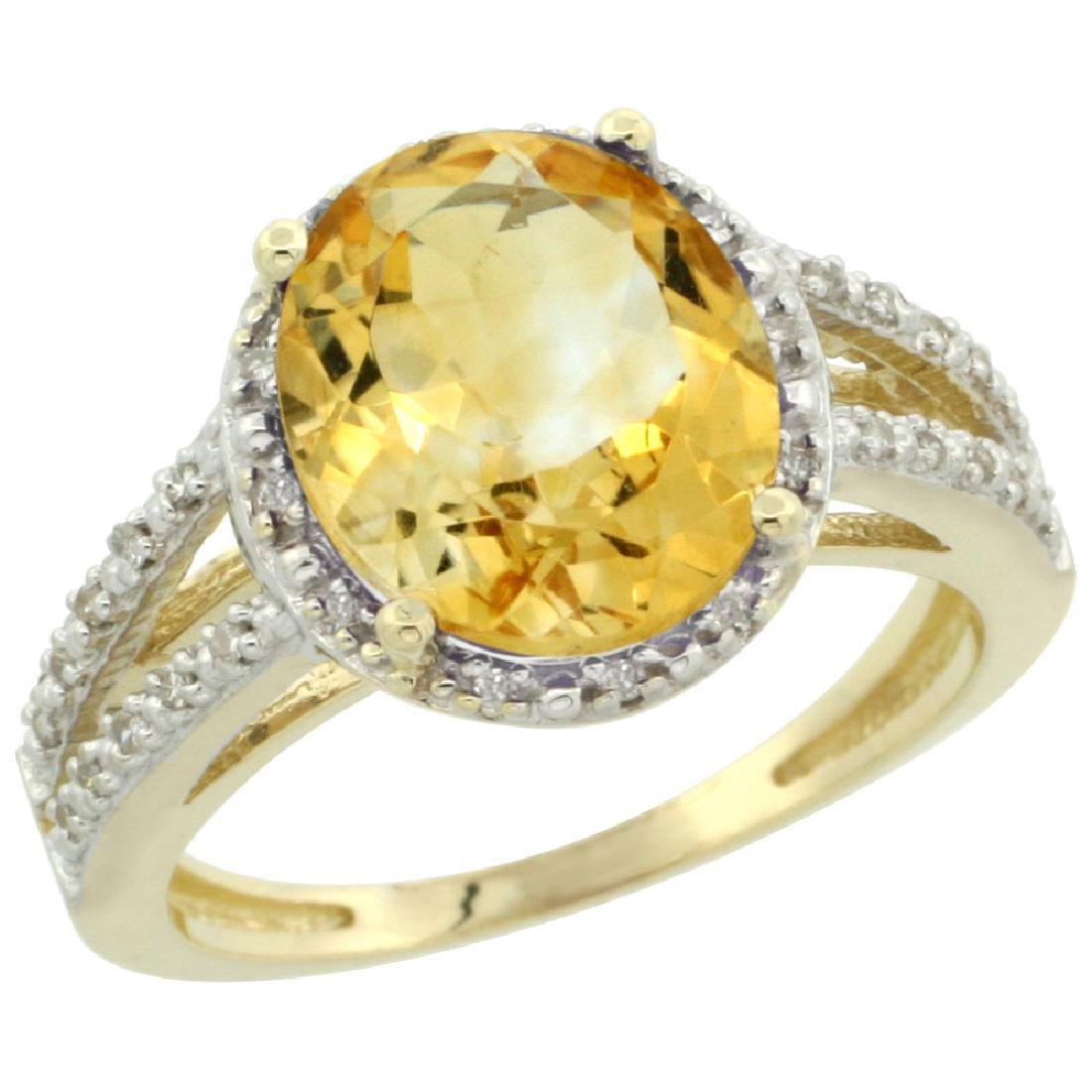 Natural 3.47 CTW Citrine & Diamond Engagement Ring 10K