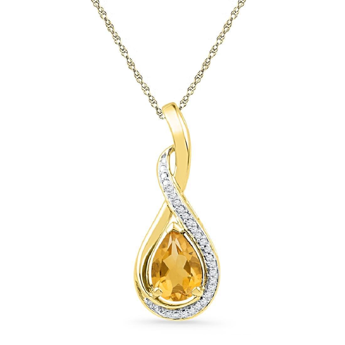 1.06 CTW Pear Created Citrine Solitaire Diamond Pendant