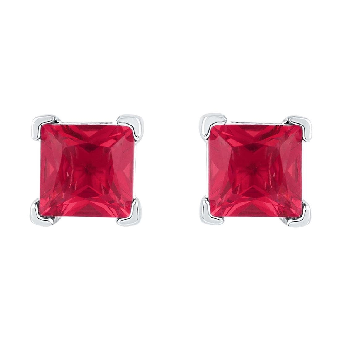 2 CTW Princess Created Ruby Solitaire Earrings 10KT