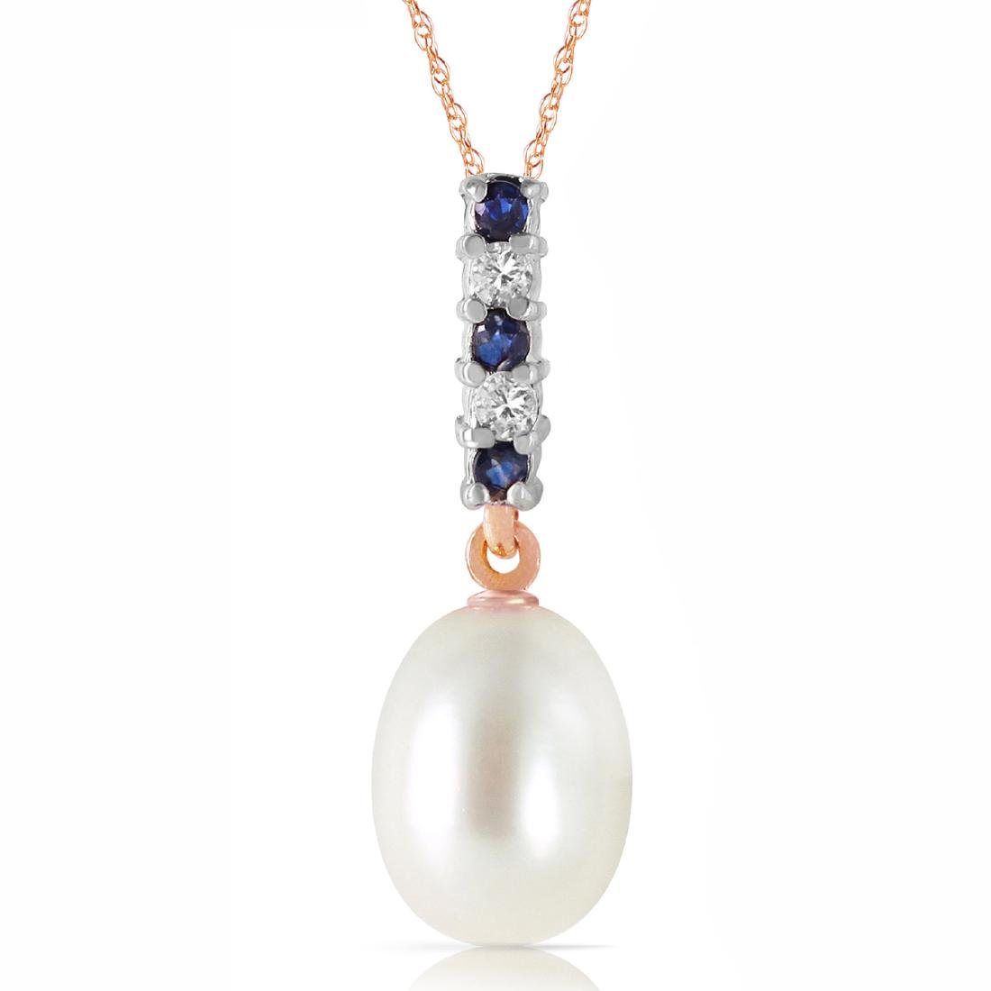 Genuine 4.15 CTW Pearl, Sapphire & Diamond Necklace
