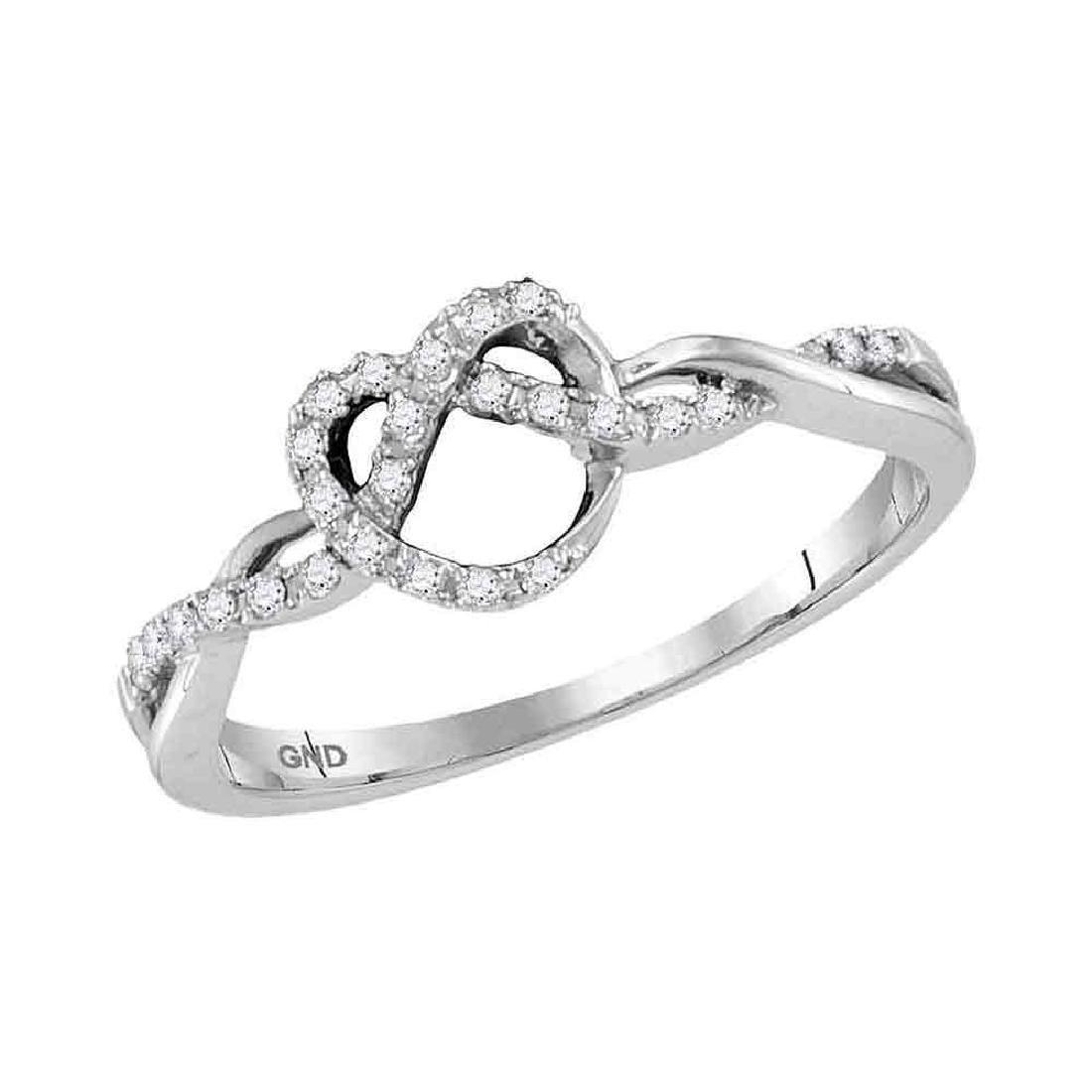 0.13 CTW Diamond Heart Pretzel Ring 10KT White Gold -