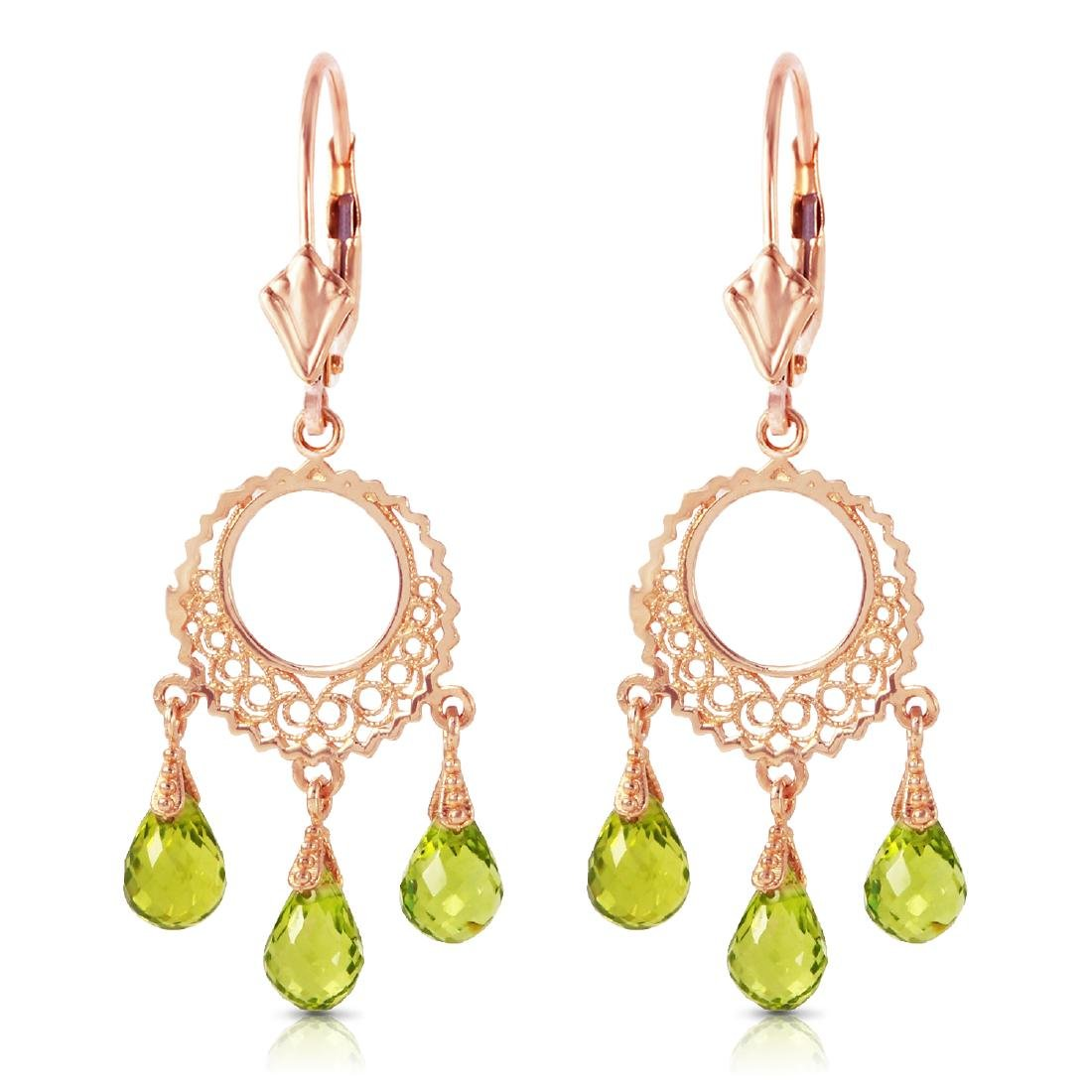 Genuine 3.75 CTW Peridot Earrings Jewelry 14KT Rose