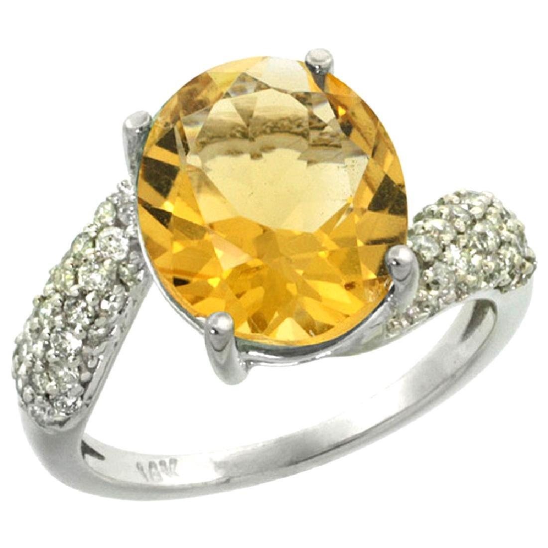 Natural 6.45 CTW citrine & Diamond Engagement Ring 14K