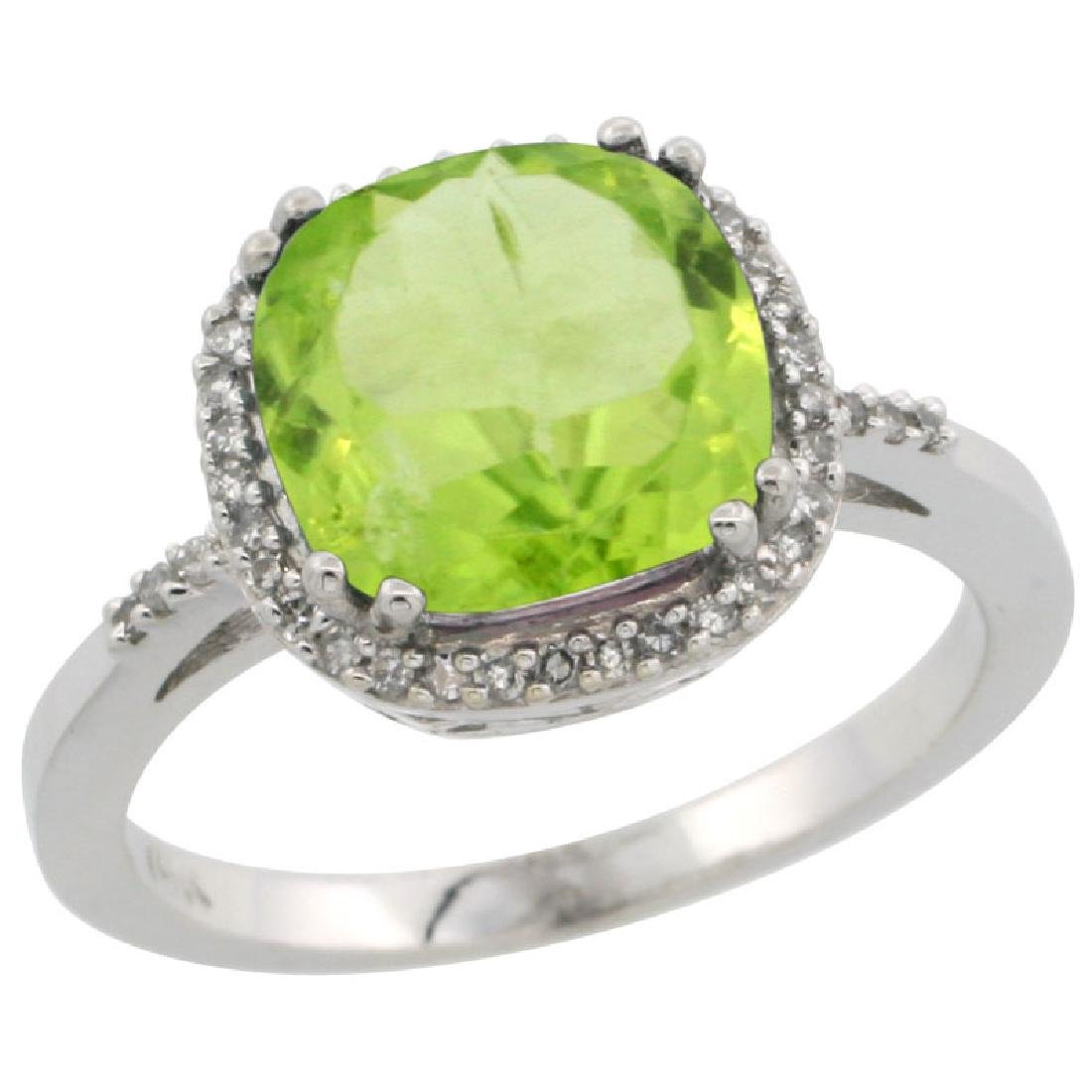 Natural 4.11 CTW Peridot & Diamond Engagement Ring 14K