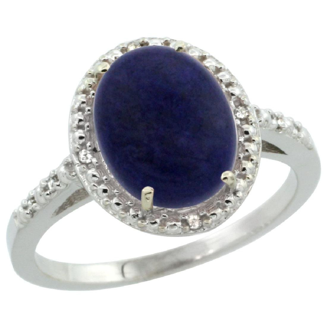 Natural 2.52 CTW Lapis & Diamond Engagement Ring 14K