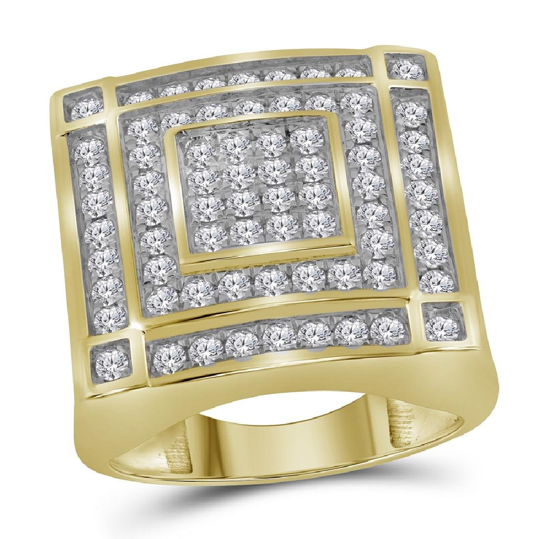 1.76 CTW Mens Diamond Square Cluster Ring 10KT Yellow