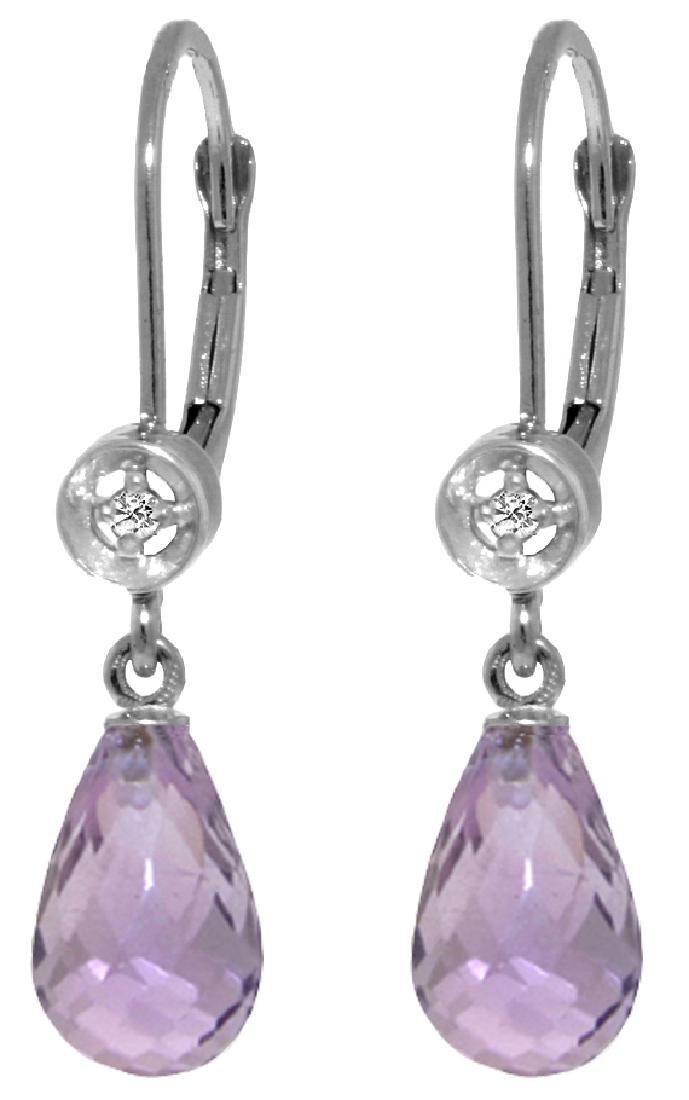 Genuine 4.53 CTW Amethyst & Diamond Earrings Jewelry