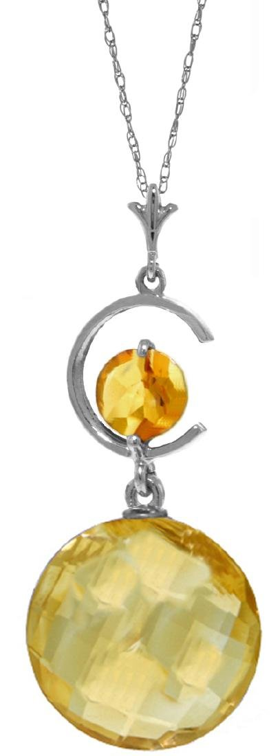 Genuine 5.8 CTW Citrine Necklace Jewelry 14KT White