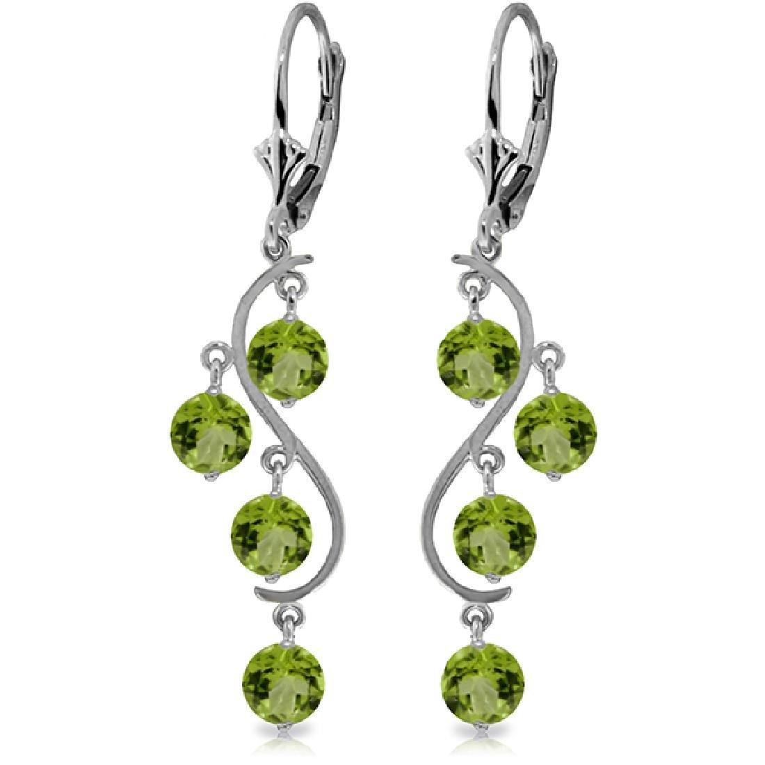 Genuine 4.95 CTW Peridot Earrings Jewelry 14KT White