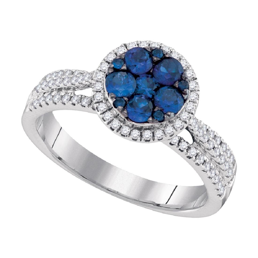 0.87 CTW Blue Sapphire Cluster Circle Diamond Ring 14KT
