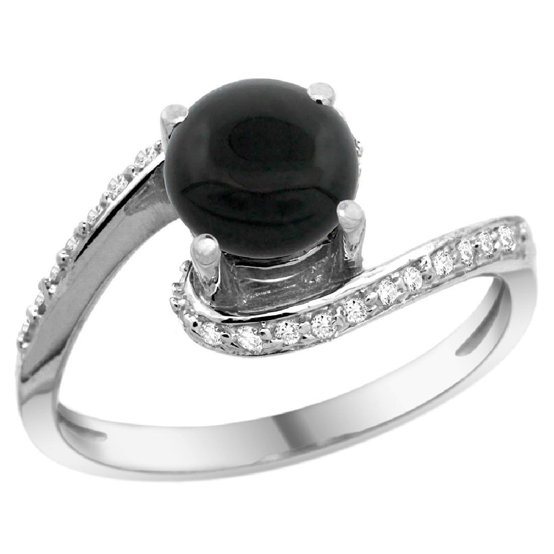 Natural 0.88 CTW onyx & Diamond Engagement Ring 10K