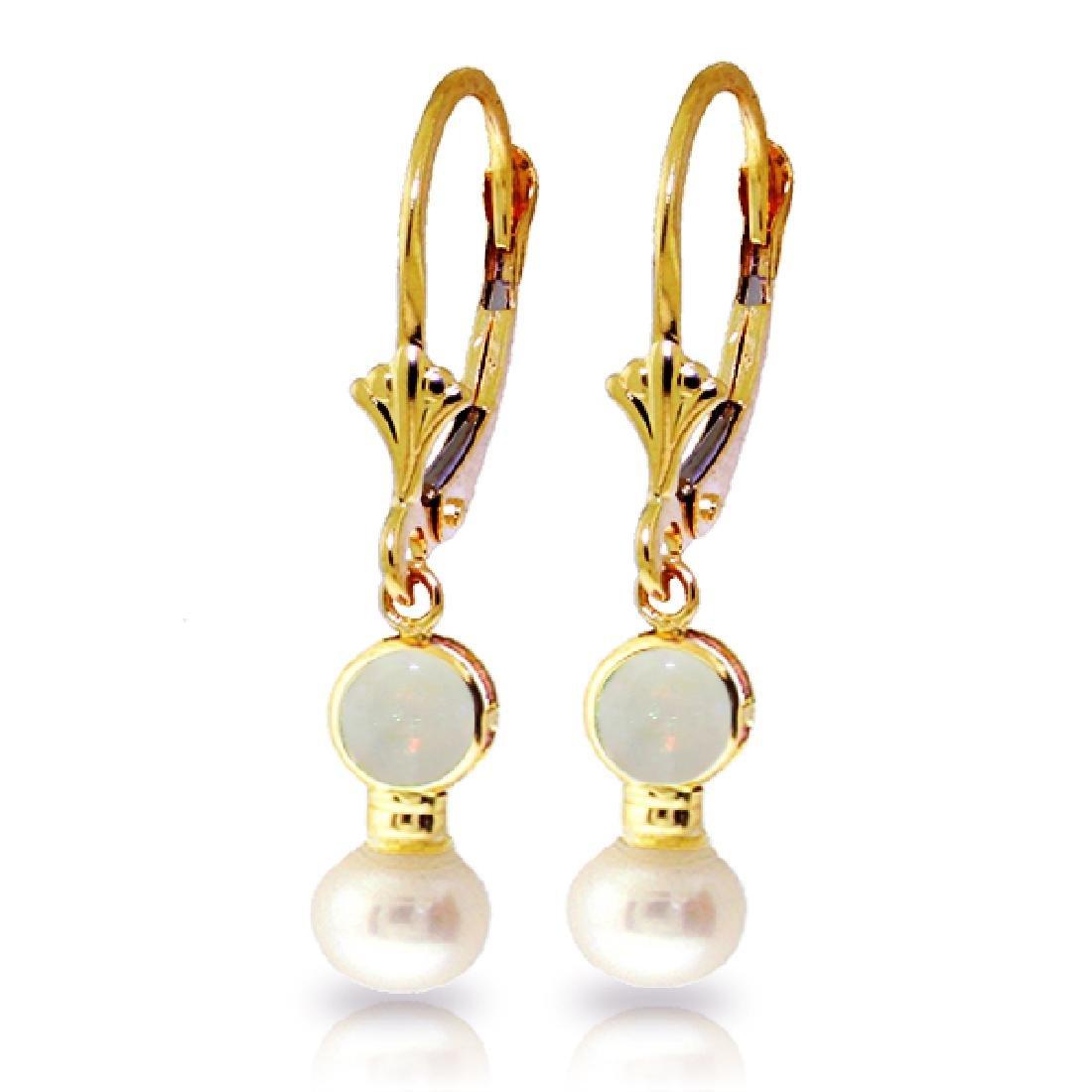 Genuine 5.17 CTW Opal & Pearl Earrings Jewelry 14KT