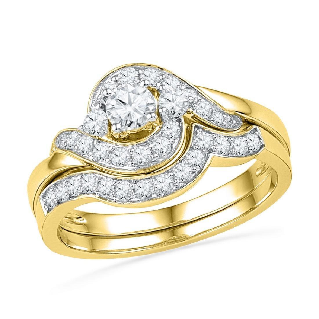 0.75 CTW Diamond Swirl Bridal Engagement Ring 14KT