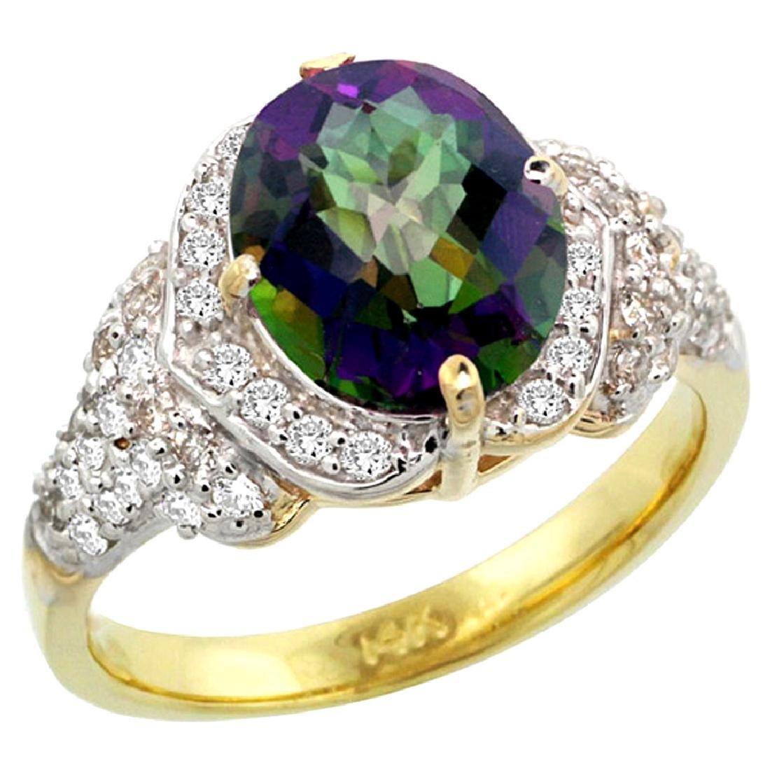 Natural 2.92 CTW mystic-topaz & Diamond Engagement Ring