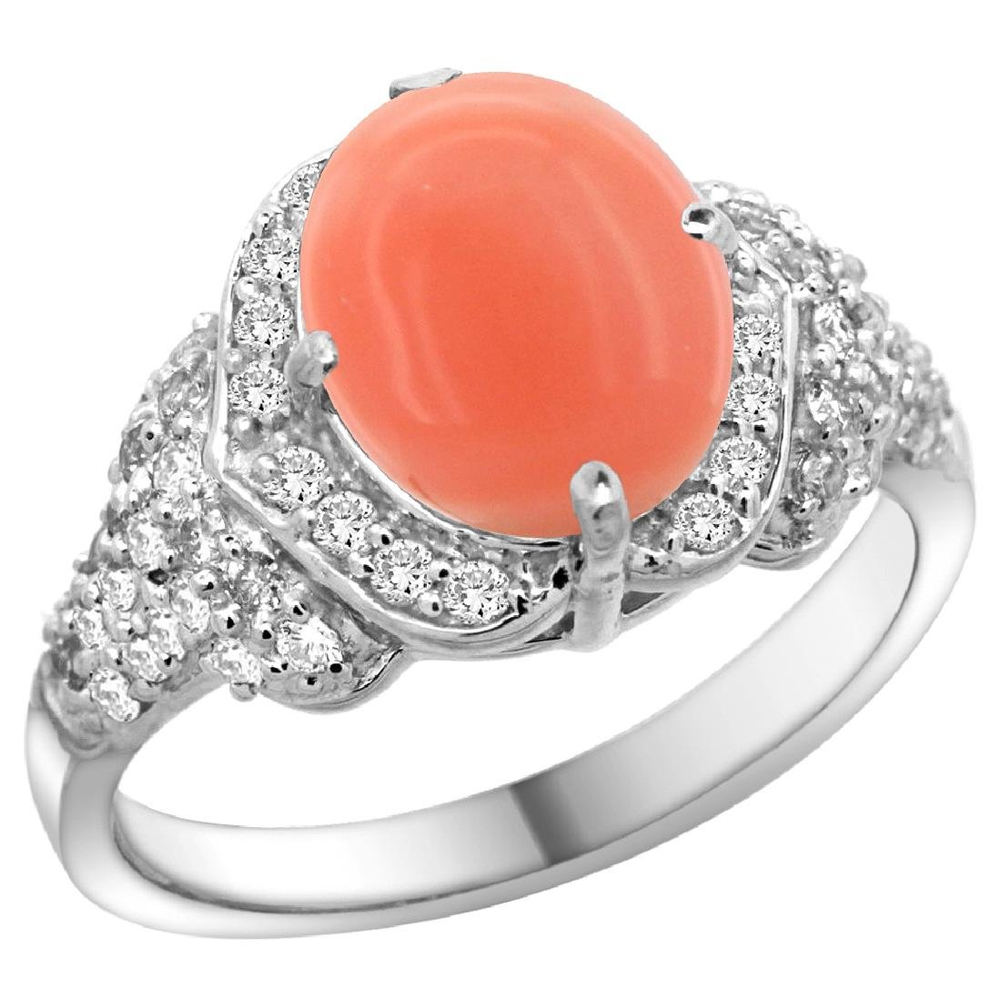 Natural 2.52 CTW coral & Diamond Engagement Ring 14K