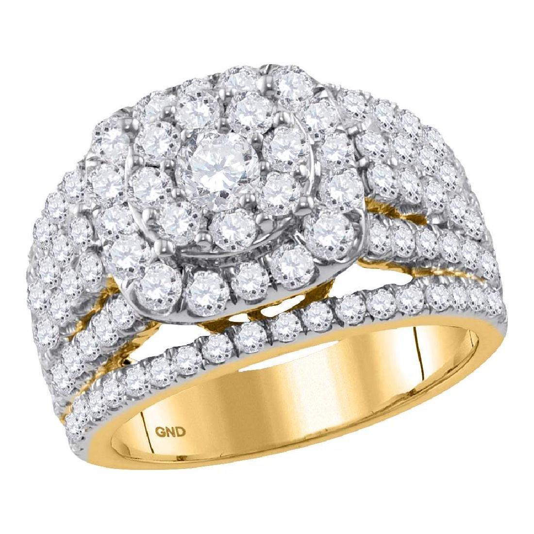 2.97 CTW Diamond Cluster Bridal Engagement Ring 14KT