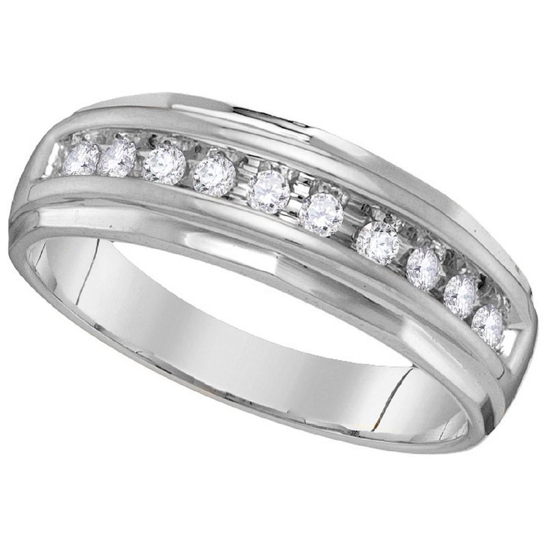0.25 CTW Mens Diamond Single Row Grooved Wedding Ring