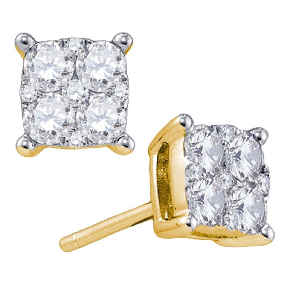 1.34 CTW Diamond Square Cluster Screwback Earrings 18KT