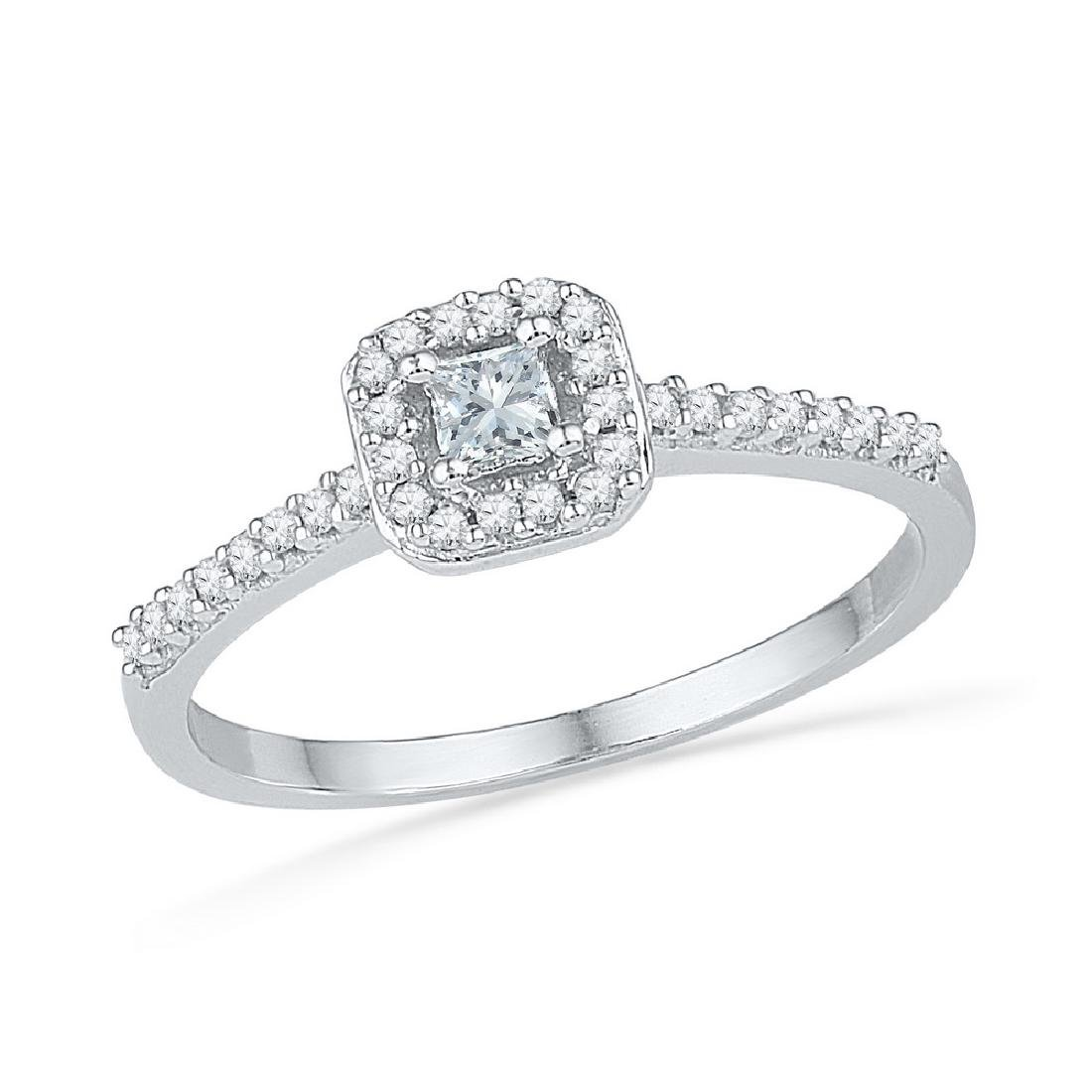 0.25 CTW Princess Diamond Solitaire Square Halo Bridal
