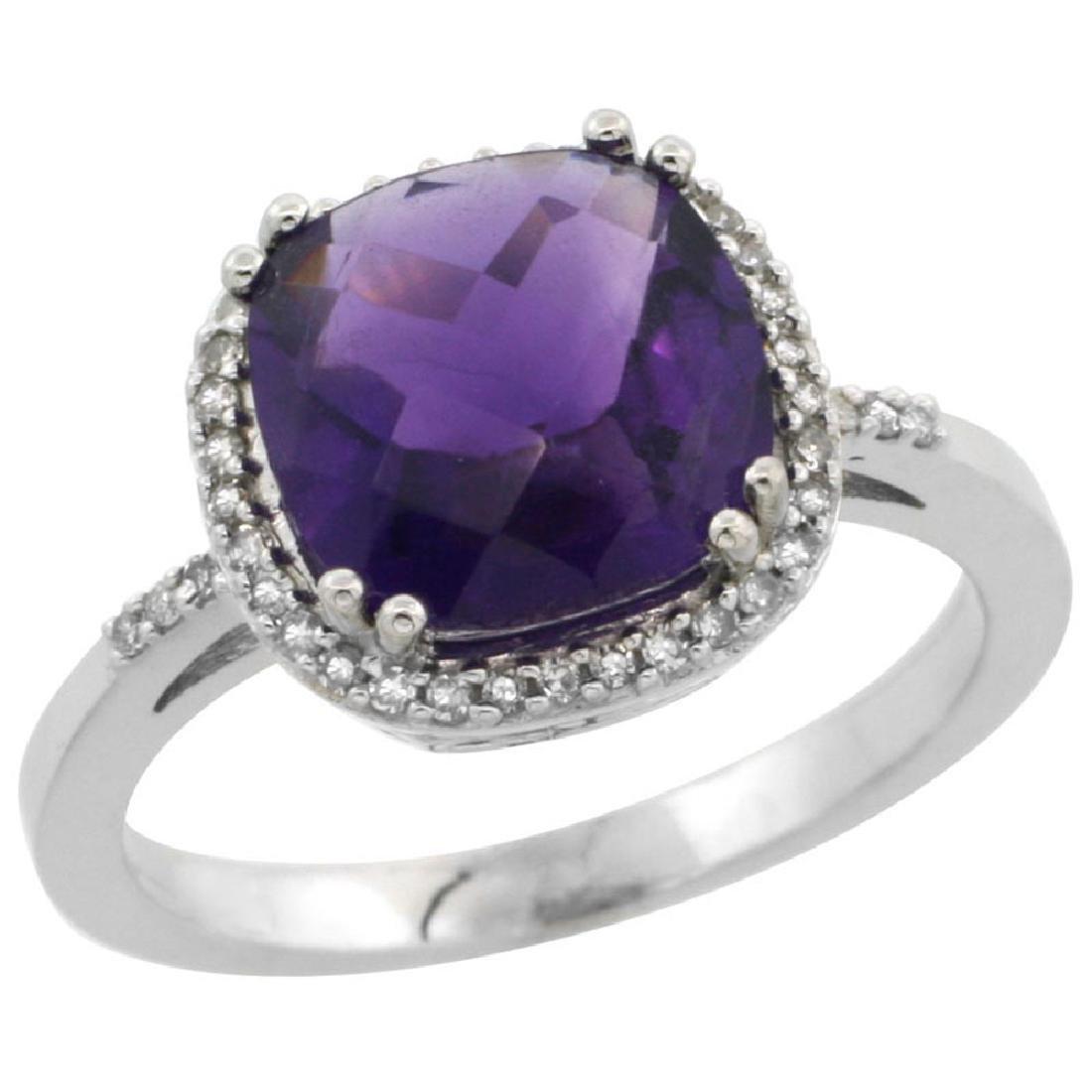 Natural 4.11 CTW Amethyst & Diamond Engagement Ring 14K