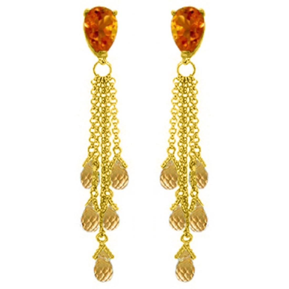 Genuine 15.5 ctw Citrine Earrings Jewelry 14KT Yellow