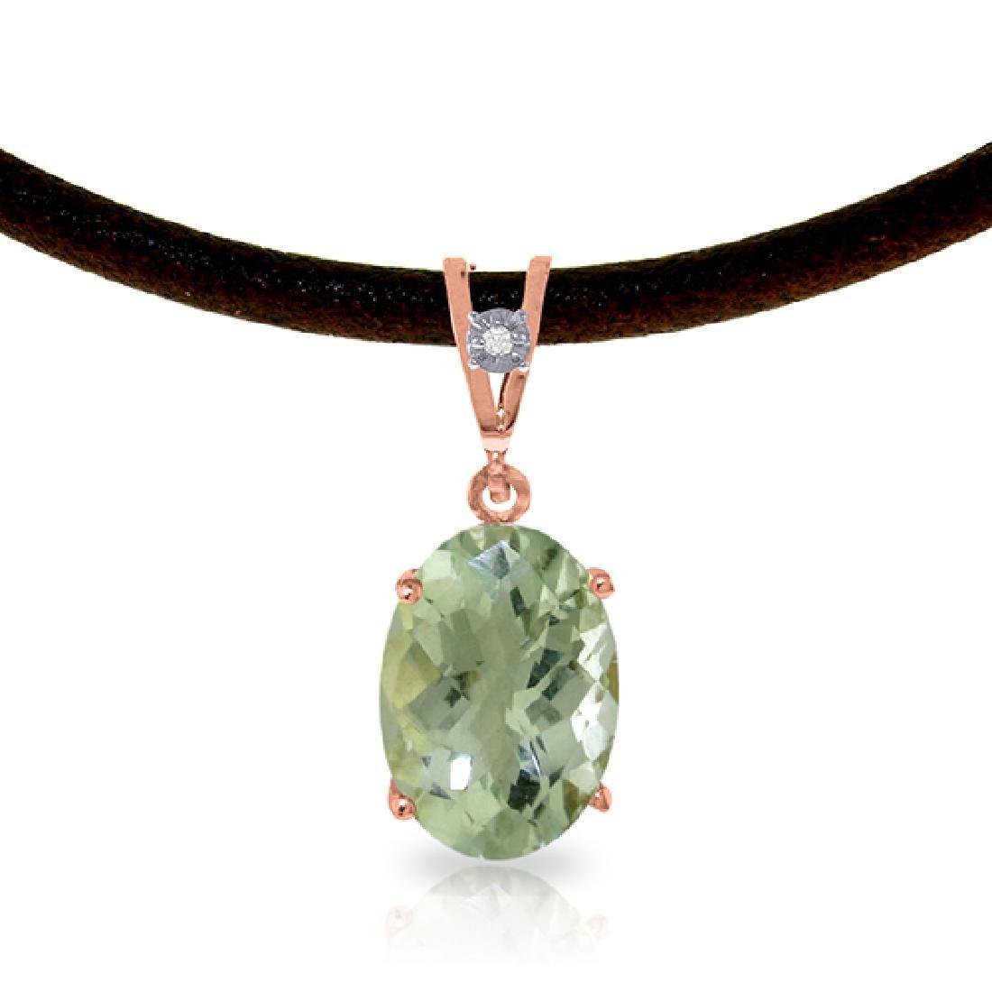 Genuine 7.56 ctw Green Amethyst & Diamond Necklace