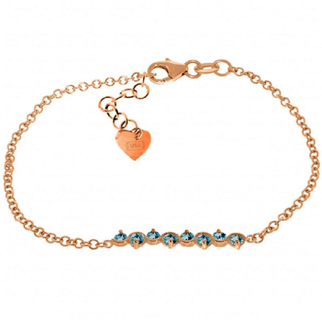 Genuine 1.55 ctw Blue Topaz Bracelet Jewelry 14KT Rose