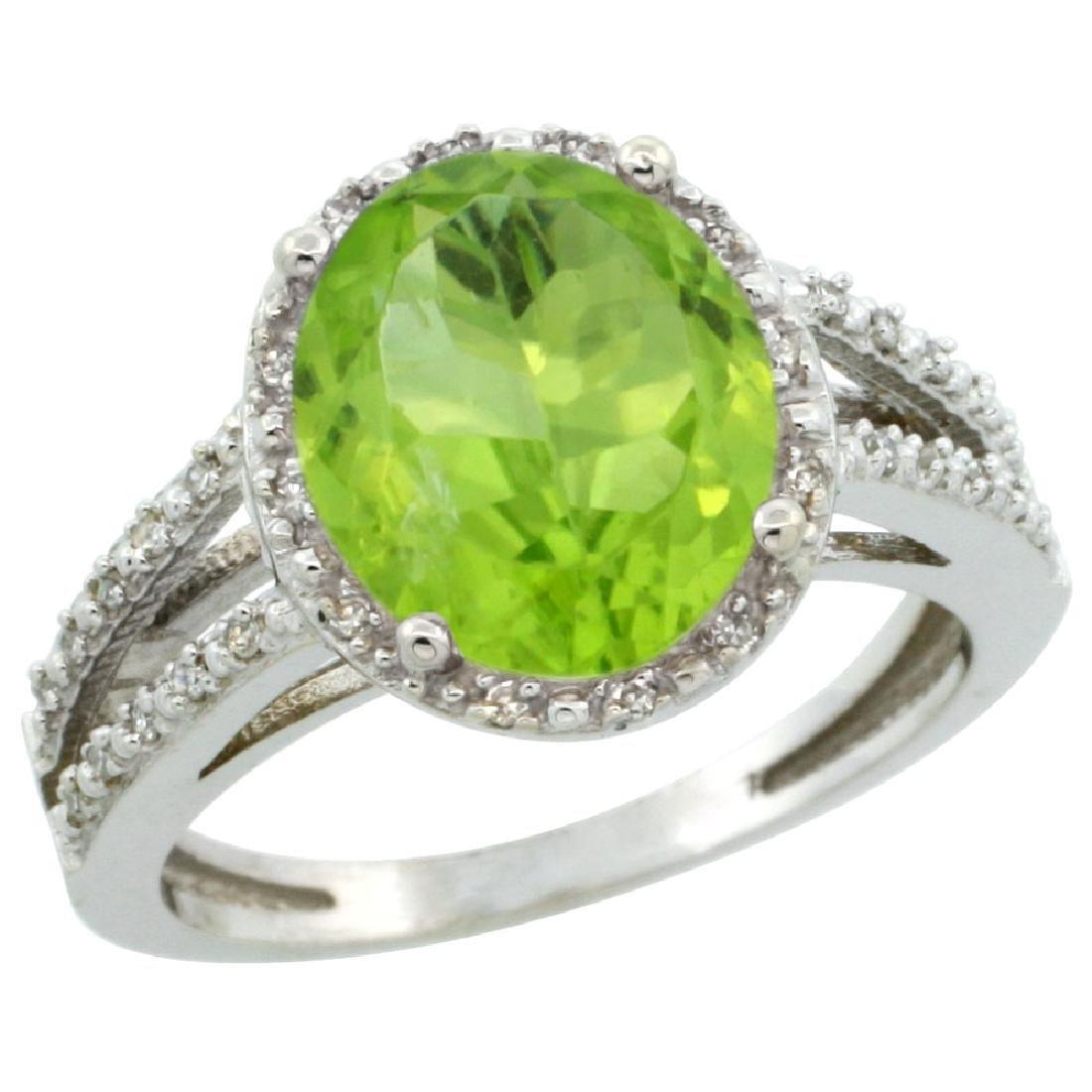 Natural 3.86 ctw Peridot & Diamond Engagement Ring 14K