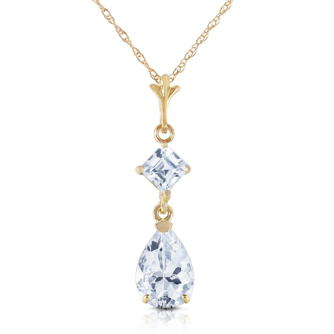 Genuine 2 ctw Aquamarine Necklace Jewelry 14KT Yellow
