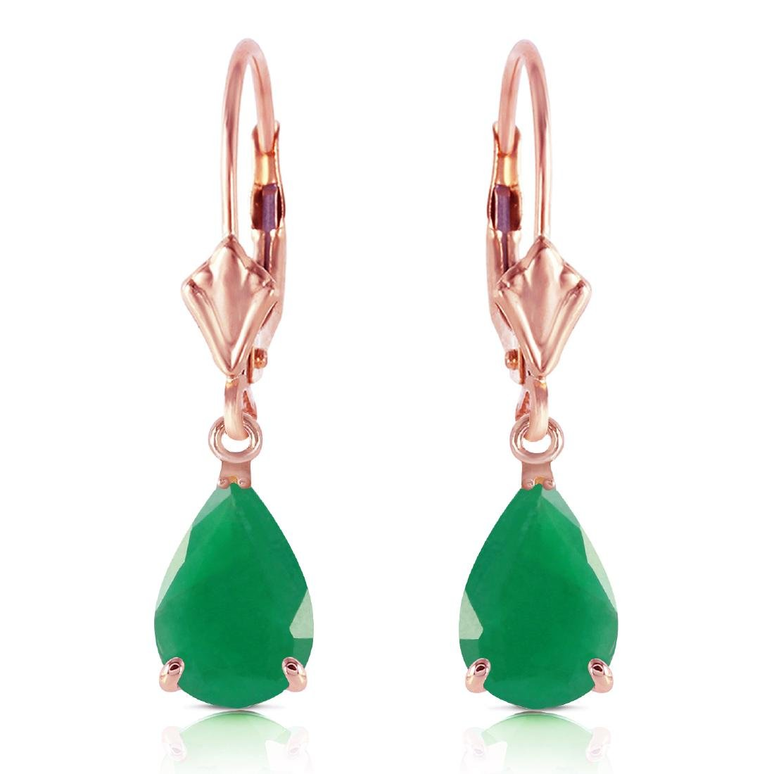 Genuine 2 ctw Emerald Earrings Jewelry 14KT Rose Gold -
