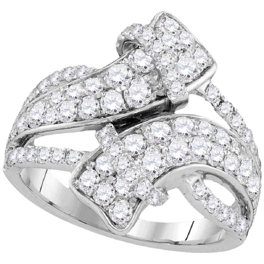 2 CTW Diamond Bypass Crossover Luxury Ring 14KT White