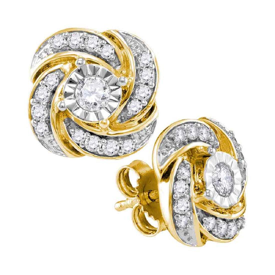 0.32 CTW Diamond Pinwheel Stud Earrings 10KT Yellow