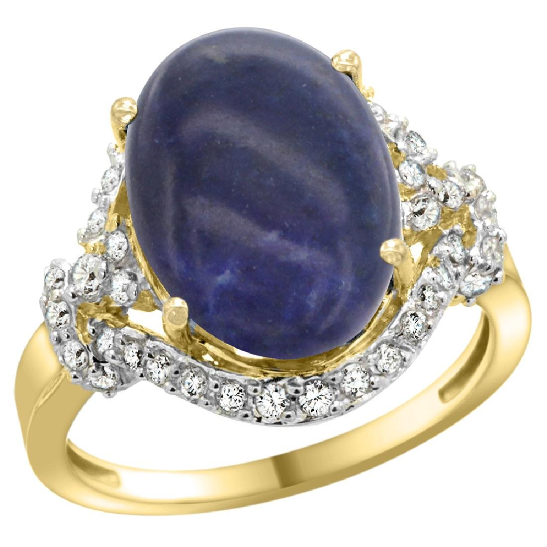 Natural 4.91 ctw lapis-lazuli & Diamond Engagement Ring