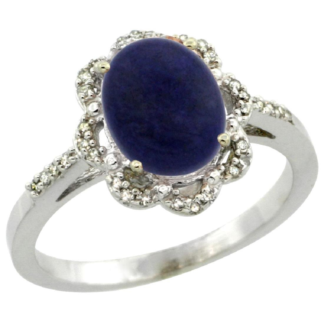 Natural 1.89 ctw Lapis & Diamond Engagement Ring 14K