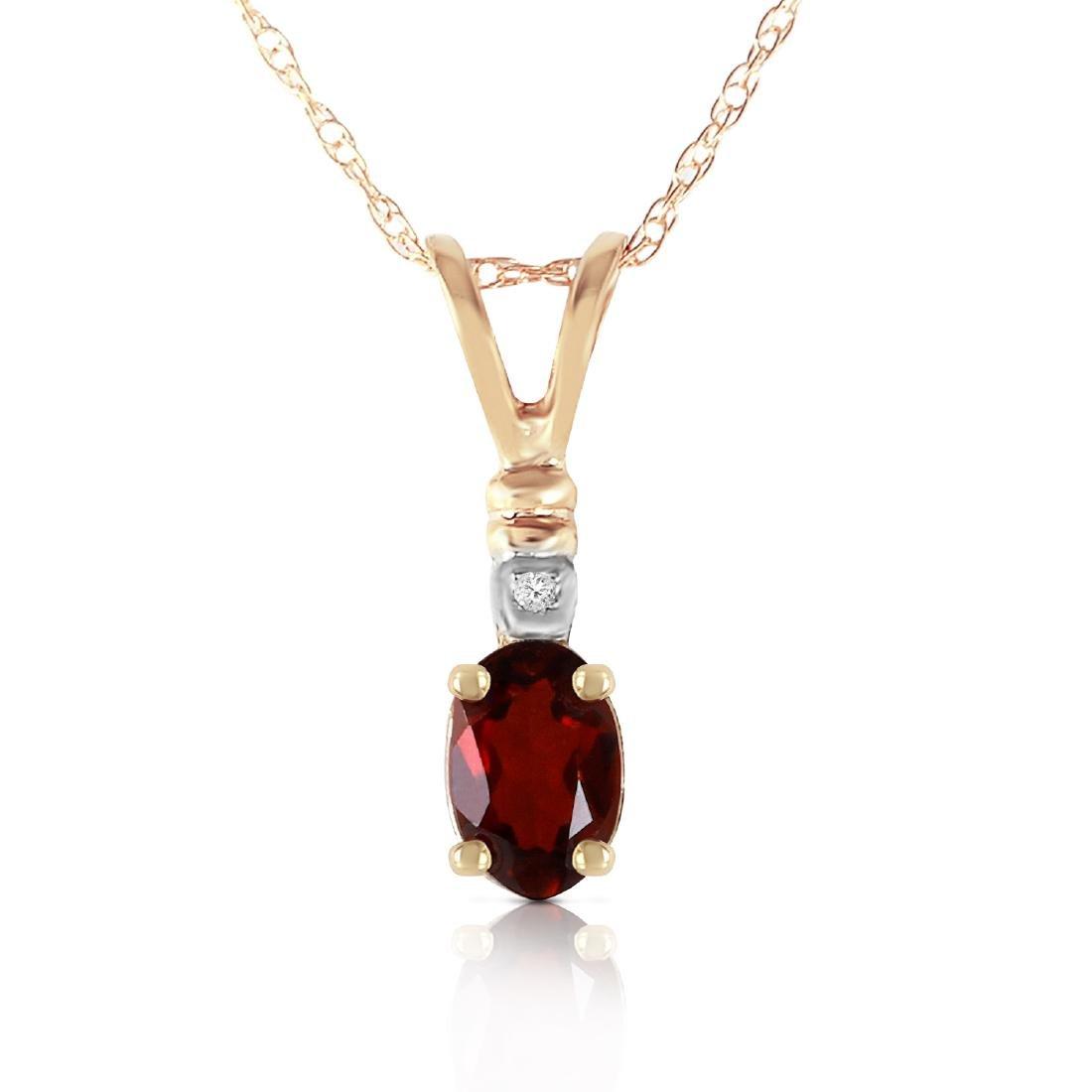 Genuine 0.46 ctw Garnet & Diamond Necklace Jewelry 14KT