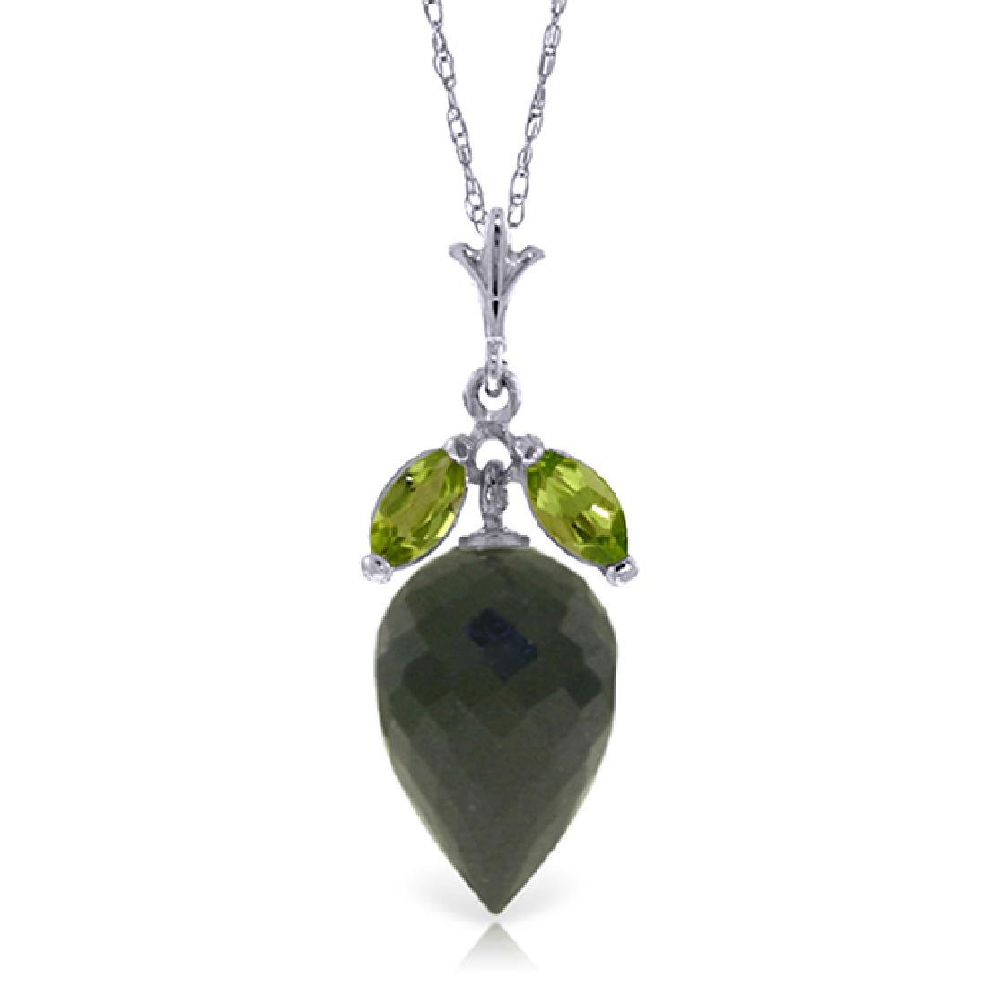 Genuine 12.75 ctw Black Spinel & Peridot Necklace