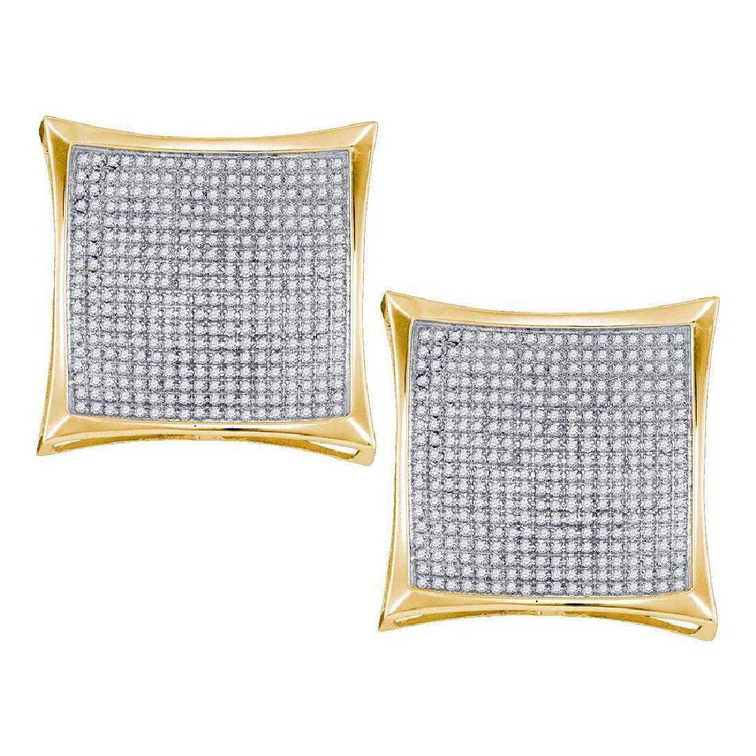 2.01 CTW Diamond Square Kite Cluster Screwback Earrings