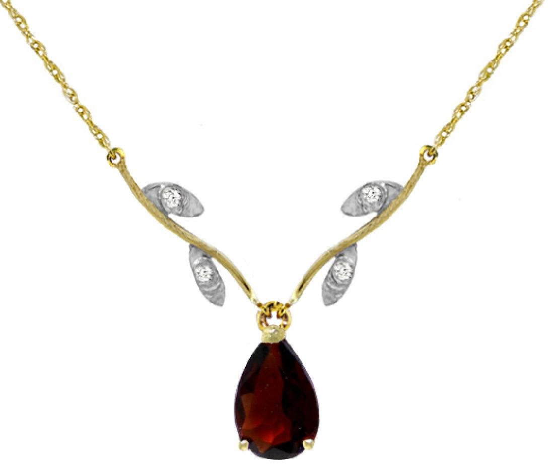 Genuine 1.52 ctw Garnet & Diamond Necklace Jewelry 14KT