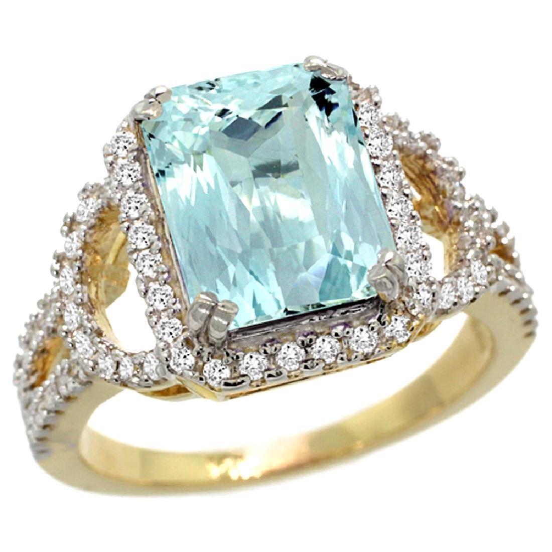 Natural 2.78 ctw aquamarine & Diamond Engagement Ring