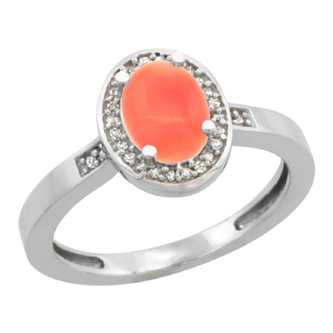 Natural 0.83 ctw Coral & Diamond Engagement Ring 14K